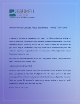Brumell Group Certified Fraud Examiners - INVESTIGATIONS