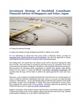 Investment Strategy of Hawkfield Consultants Financial Advisor in Singapore and Tokyo, Japan