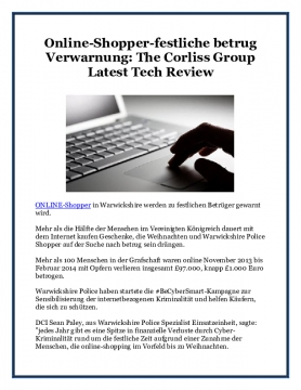 Online-Shopper-festliche betrug Verwarnung: The Corliss Group Latest Tech Review