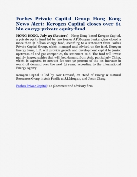 Forbes Private Capital Group Hong Kong News Alert: Kerogen Capital closes over $1 bln energy private equity fund