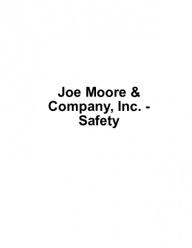 Joe Moore & Company, Inc. - Safety