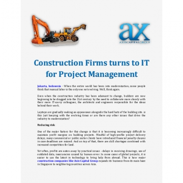 Construction Firms turns to IT for Project Management