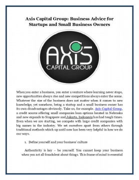 Axis Capital Group: Business Advice for Startups and Small Business Owners