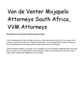 Van de Venter Mojapelo Attorneys South Africa, VVM Attorneys