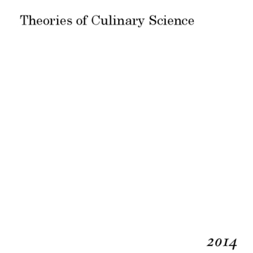 Theories of Culinary Science