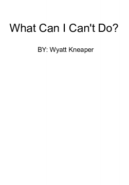 What Can I Can't Do?