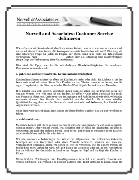 Norvell and Associates: Customer Service definieren