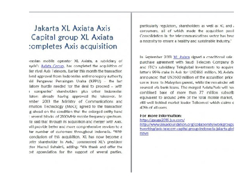 Jakarta XL Axiata Axis Capital group XL Axiata completes Axis acquisition