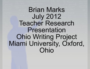 MR. MARKS OWP TEACHER RESEARCH