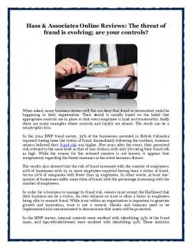 Hass & Associates Online Reviews: The threat of fraud is evolving; are your controls?