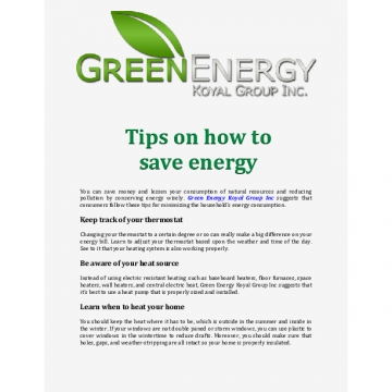 Green Energy Koyal Group Inc: Tips on how to save energy