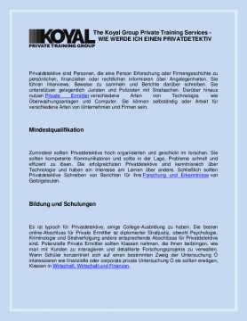The Koyal Group Private Training Services - WIE WERDE ICH EINEN PRIVATDETEKTIV