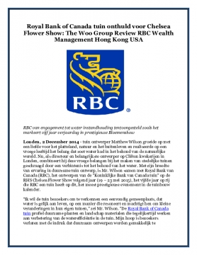 Royal Bank of Canada tuin onthuld voor Chelsea Flower Show: The Woo Group Review RBC Wealth Management Hong Kong USA