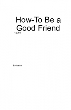 How-To Be a Good Friend