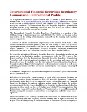 International Financial Securities Regulatory Commission: International Profile