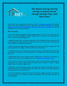 The Haney Energy Saving Group: Common Sense Energy-Savings Tips, and then Some