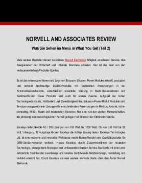 Norvell and Associates Review: Was Sie Sehen im Menü is What You Get (Teil 2)