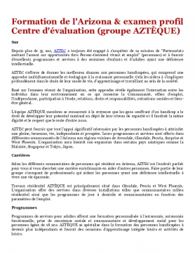 Formation de l'Arizona & examen profil Centre d'évaluation (groupe AZTÈQUE)