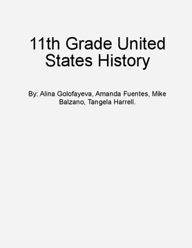 11th Grade United States History Curriculum