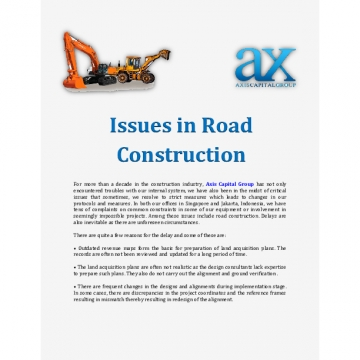 Issues in Road Construction