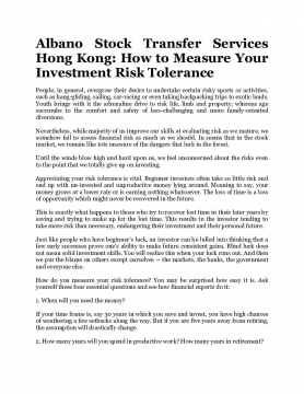 Albano Stock Transfer Services Hong Kong: How to Measure Your Investment Risk Tolerance