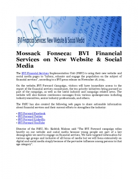 Mossack Fonseca: BVI Financial Services on New Website & Social Media