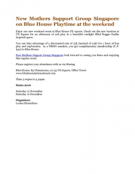 New Mothers Support Group Singapore on Blue House Playtime at the weekend