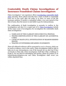 Contestable Death Claims Investigations of Insurance Fraudulent Claims Investigators
