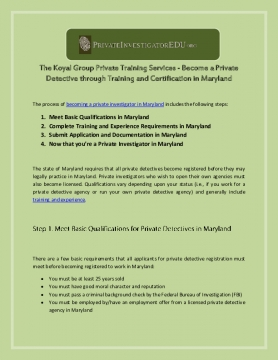The Koyal Group Private Training Services - Become a Private Detective through Training and Certification in Maryland