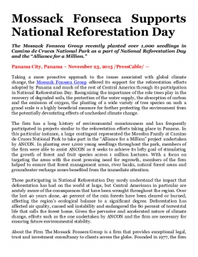 Mossack Fonseca Supports National Reforestation Day
