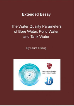 The Water Quality Parameters of Bore Water, Pond Water and Tank Water