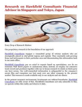 Research on Hawkfield Consultants Financial Advisor in Singapore and Tokyo, Japan