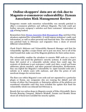 Online shoppers' data are at risk due to Magento e-commerce vulnerability: Dyman Associates Risk Management Review