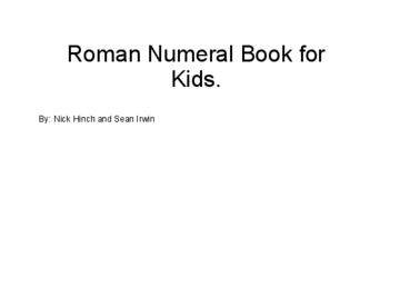 Roman numerals for kids