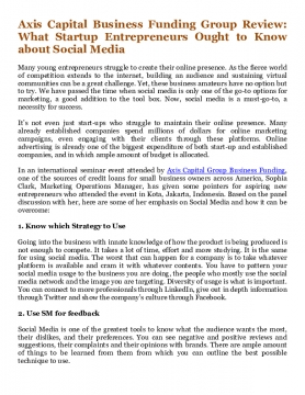 Axis Capital Business Funding Group Review: What Startup Entrepreneurs Ought to Know about Social Media