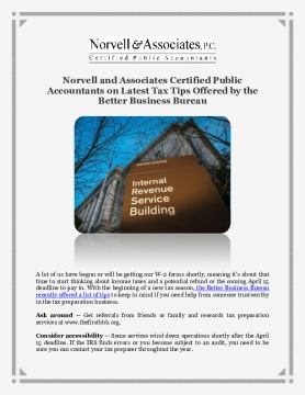 Norvell and Associates Certified Public Accountants on Latest Tax Tips Offered by the Better Business Bureau