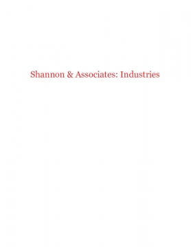 Shannon & Associates: Industries