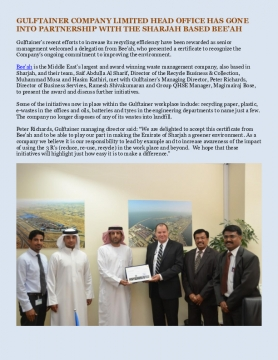 GULFTAINER COMPANY LIMITED HEAD OFFICE HAS GONE INTO PARTNERSHIP WITH THE SHARJAH BASED BEE'AH