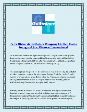 Peter Richards Gulftainer Company Limited Hosts Inaugural Port Finance International