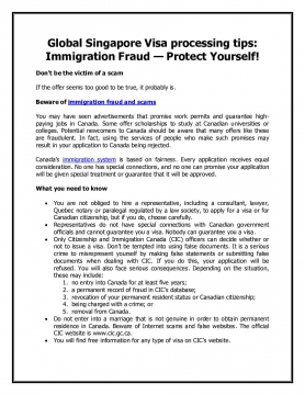 Global Singapore Visa processing tips: Immigration Fraud — Protect Yourself!