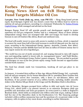 Forbes Private Capital Group Hong Kong News Alert on $1B Hong Kong Fund Targets Midsize Oil Cos