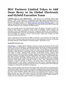 BGC Partners Limited Tokyo to Add Dean Berry to its Global Electronic and Hybrid Execution Team