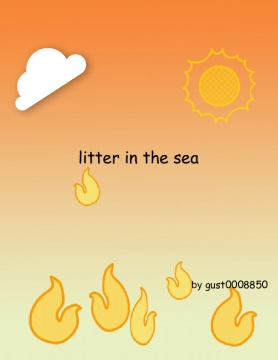 litter in the sea