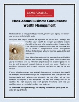 Moss Adams - Wealth Management