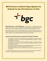 BGC Partners Limited Tokyo Updates