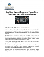 New fraud laws start with open dialogue