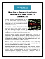 HELPING YOU STAY AHEAD OF CYBERFRAUD
