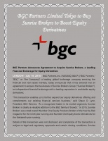 BGC Partners Limited Tokyo to Buy