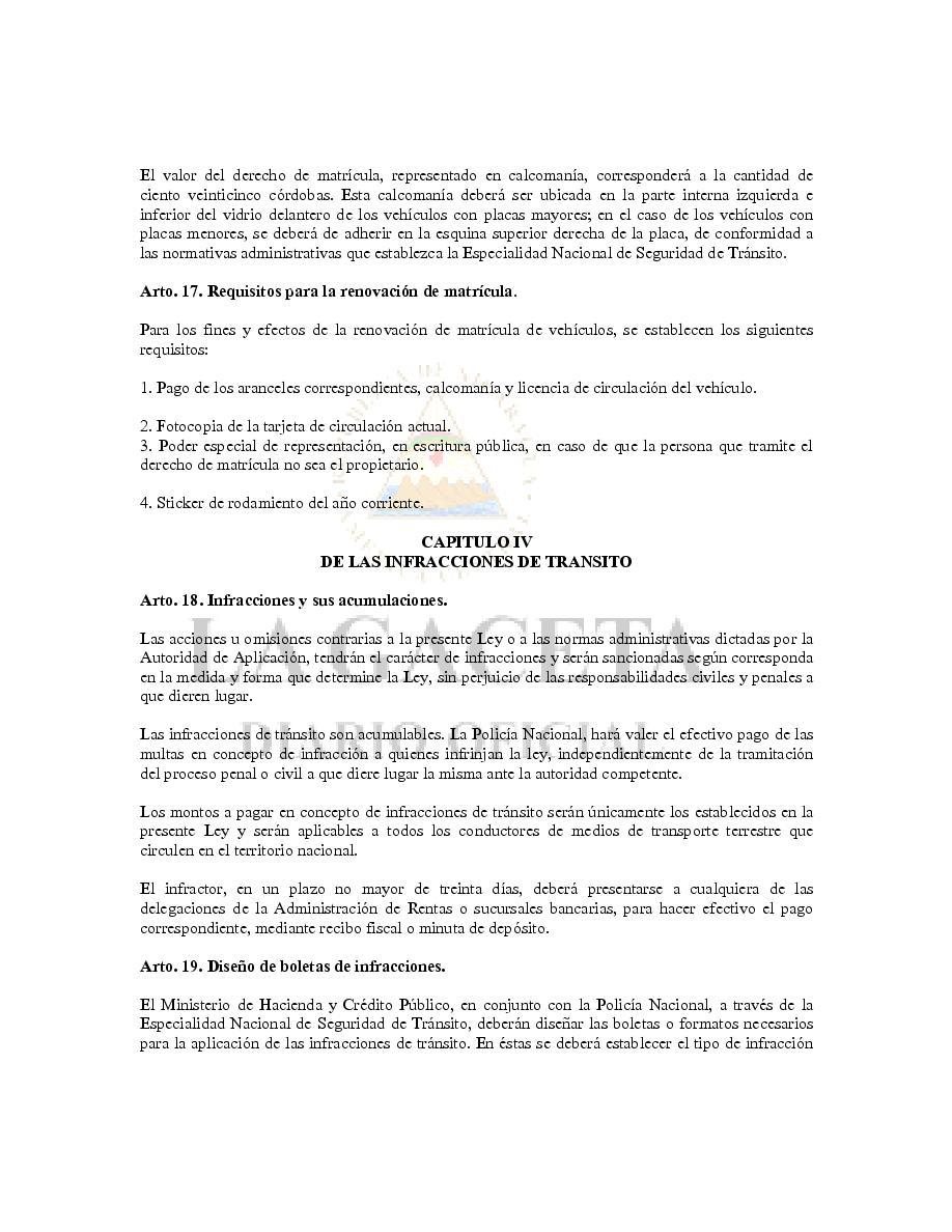 LEY DE TRANSITO DE NICARAGUA - LEY 431 | Page 594723 | Book 26986 ...
