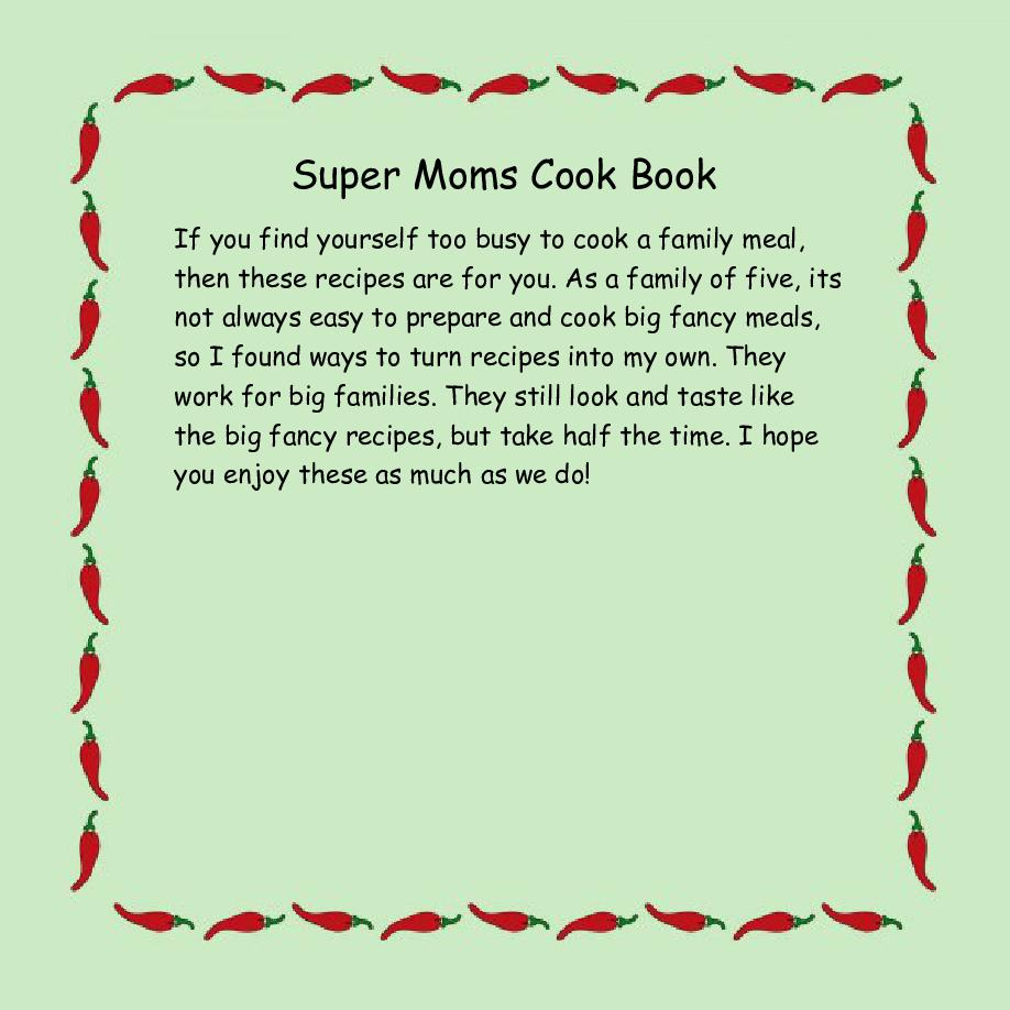 Super moms cook book cooking for a family of 5 cover page super moms cook book cooking for a family of 5 cover page book 647929 bookemon solutioingenieria Images